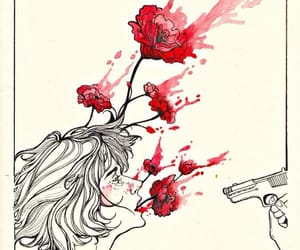 blood, flowers, and girl image