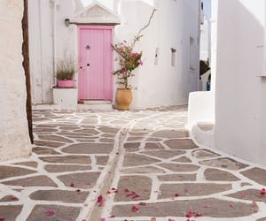 pink, Greece, and travel image
