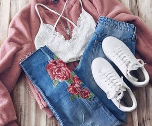 outfit, pink, and bralette image