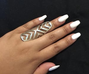 acrylic, nails, and silver ring image