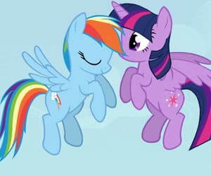 blush, cartoon, and rainbow image