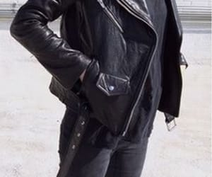 black, leather jacket, and street style image