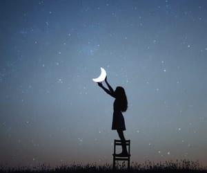 moon, girl, and night image