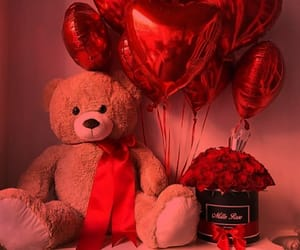 red, roses, and balloons image