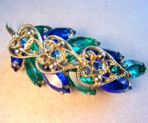 etsy, floral, and blue green brooch image
