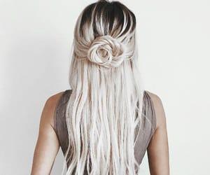 beautiful, black hair, and rose image