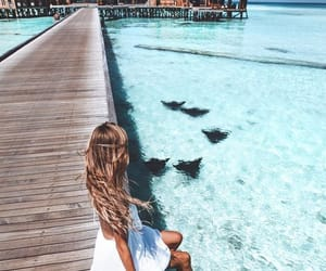 beach, girl, and vacation image