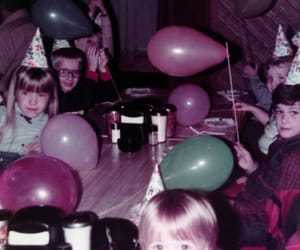 balloons, birthday party, and childhood image