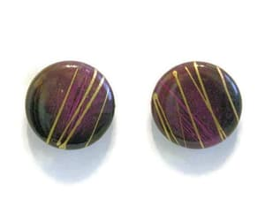 black, round earrings, and retro earrings image