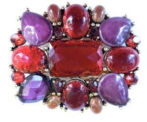vintage brooch, claiborne jewelry, and designer red brooch image