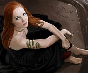 redhead blue eyes, solitary ground, and redhead black dress image