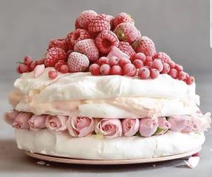 cake, pavlova, and raspberry image