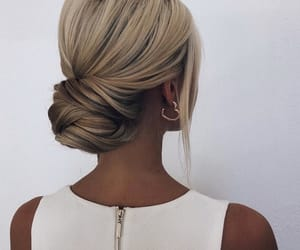 hair, updo, and wedding image
