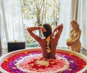 bali, bath, and flowers image