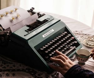 daisy, typewriter, and cup image