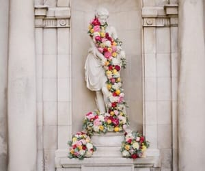 flowers, statue, and rose image