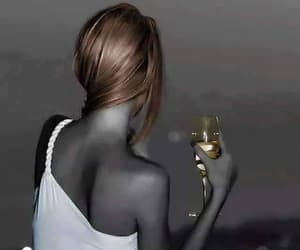drinking, woman, and wine image