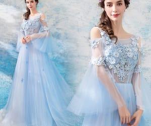 evening dress, sky blue dress, and tulle dress image