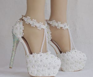 ankle strap, lace flower, and round toe image