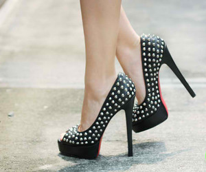 black, christian louboutin, and silver studs image