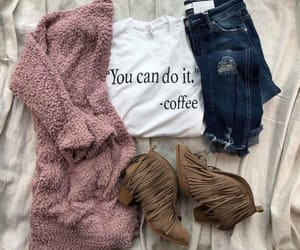 blush, boots, and coffee image