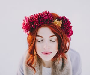 red flowers crown and redhead floral crown image