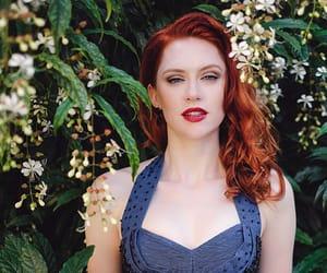 redhead blue dress and trashy diva rayon retro image