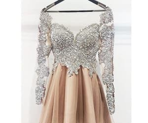 short prom dress, champagne prom dress, and long sleeves prom dress image