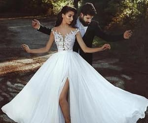 wedding dress, love, and couple image