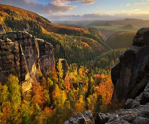 autumn colors, blink182, and cliffs image