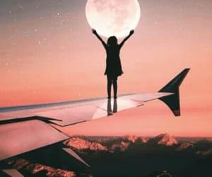 aesthetics, moon, and plane image
