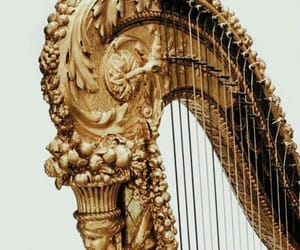 gold, harp, and aesthetic image