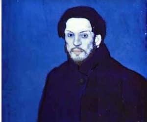 art, blue, and man image