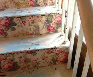 vintage, flowers, and stairs image
