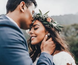couple, wedding, and forehead kiss image