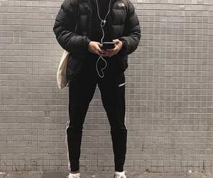 the north face, fashion style outfit, and adidas track pants image