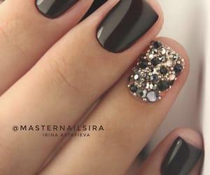 black nails, nails, and glitter nails image