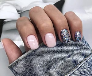 simple, cute, and glitter nails image