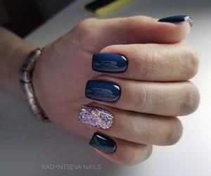nails, simple nails, and darkblue image