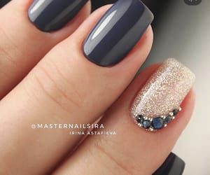 manicure, nails, and glitter nails image