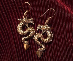 earrings, dragon, and jewelry image