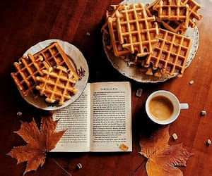 autumn, book, and waffles image