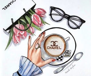 chanel, drawing, and flowers image