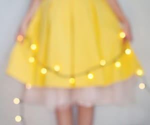 yellow, dress, and lights image