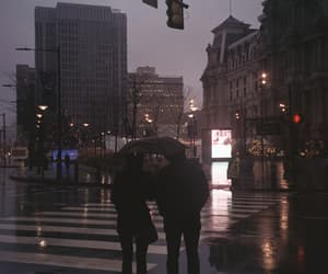 city, lights, and rain image