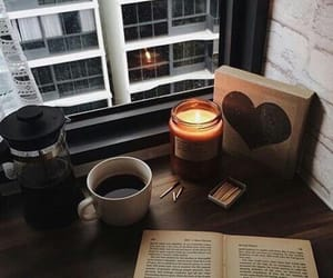 candle, coffee, and autumn image