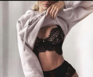 abs, beauty, and black lingerie image