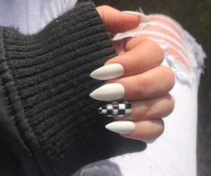 black, checkered, and nails image
