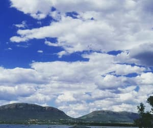blue, cloudy, and dam image