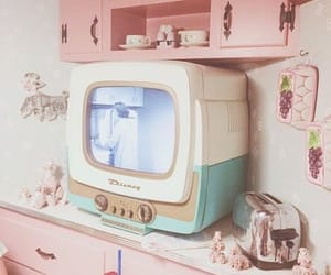 vintage, pink, and tv image